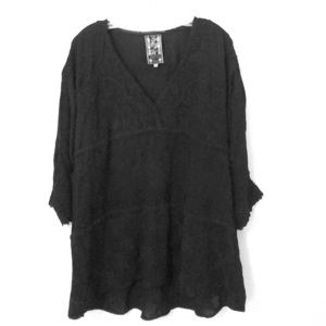 Johnny Was black embroidered tunic top